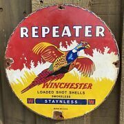 Vintage 1961 Winchester Repeater Porcelain Sign Usa Oil Gas Pump Gun Rifle Ammo