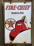 Vintage Texaco Fire Chief Porcelain Metal Sign 18andrdquo Oil And Gas Station Petroliana