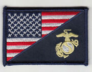50 Pcs Marine Corps Logo/usa Flag Embroidered Patches 3x2