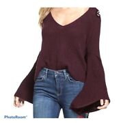Free People Damsel Bell Sleeve Sweater Wine Color 100 Cotton Over Sized Medium