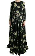 Dolce And Gabbana Dress Womenand039s Multicolor Silk Sunflower Print Maxi It42/us6/l