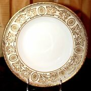 16 Antique Royal Doulton Soup Bowls Gold Encrusted On Ivory