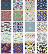 Ambesonne Fish Microfiber Fabric By The Yard For Arts And Crafts