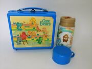 Aladdin 1983 Care Bears Blue Plastic Lunch Box And Thermos