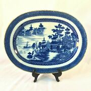 Antique English Cobalt Blue Chinoiserie Oval Platter Pearlware 16 5/8 X 12.75