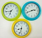 """3 Painted Sterling And Noble Quartz Wall Clocks 8.75"""" Time Zone Set Mfg. No. 9"""