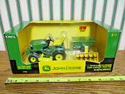 John Deere X585 Lawn And Garden Tractor With Cart And Tiller By Ertl 1/16th Scale
