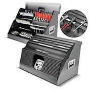 26 Inch Portable Slant Front Toolbox Tiered Tool Holders Store Up To 154