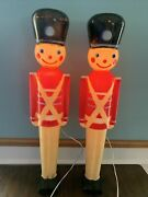 2-vintage 32andrdquo Lighted Christmas Nut Cracker Toy Soldier Blow Mold 1950and039s Hard