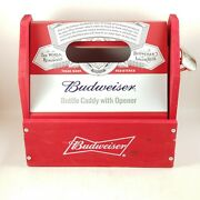 Budweiser Wooden Six 6 Pack Bottle Caddy With Opener.. New