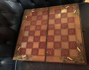 Antique Art Nuveau/arts And Crafts Copper/chess Board Chessboard Backgammon Game