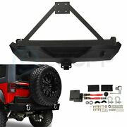 Textured Heavy Rear Bumper With Tire Carrier And D-ring For Jeep Wrangler Jk 07-18