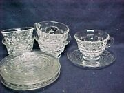 5 Sets Fostoria American Footed Coffee Cup And Saucer Clear Crystal Cube Tea Punch