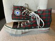 Vintage Converse All Star Made In Usa Christmas Jingle Bells Plaid Mens 8.5