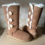 Ugg Bailey Button Triplet Triple Ii Chestnut Suede Fur Boots Size Us 7 Womens