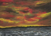 Signed Dated 65 - Thunderstorm Mood Over A Lake Or Sea