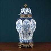 54 Cm Extra Large Chinoiserie European Style Blue And White Chinese Ginger Jar