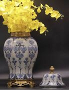 54cm Extra Large Chinoiserie European Style Blue And White Chinese Ginger Jar