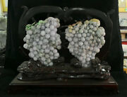 21.2 Chinese Natural Emerald Jade Jadeite Carved Fruit Grape Grapes Statue Pair
