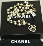 New In Box Chain Cc Logo Medalion Belt Pearl Crystals Necklace 90 L