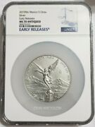 2019 5 Oz Silver Mexican Libertad Ngc Ms70 Antique Finish Early Releases Coin.