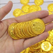 100pcs Pirates Gold Coins Plastic Gold Coins Props Game Funny Playing Toy