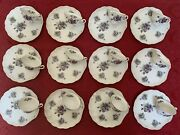 Vintage Lefton Hand Painted Violet China Snack Plate And Tea Cup Set Of 12