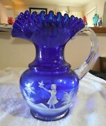Stunning Fenton Mary Gregory Style Cobalt Blue Large Water Pitcher Wow
