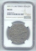Turkey - 1 Zolota Ah 1171//86 Graded Ms65 By Ngc Top Pop Extremely Rare