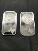 Lot Of 2 / One Ounce Silver Bar Texas Mint .9999 Fine Silver