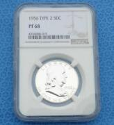 1956 Ngc Pf 68 Silver Franklin Half Dollar Gem Proof 68 Silver 50-cent Coin