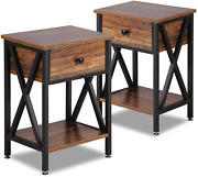 Set Of 2 Modern Versatile Nightstands X-design Side End Table Night Stand