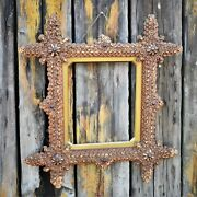 Antique Rare Handmade Tramp Art Frame Picture Mirror Gallery Wall