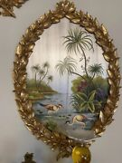 83x54cm Wooden Hand Painted Oval Wall Plaque Chinoiserie European Style