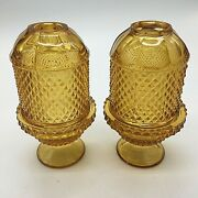 Lot Of 2 Viking Diamond Point Fairy Lamp. Vintage Amber. Different Style Tops.