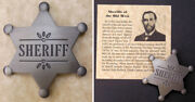 Old West Style Sheriff Badge Western Six-pointed Star Silver T. Jeff Carr