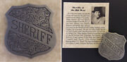 Old West Style Sheriff Badge Western Shield Silver Charlie Bassett