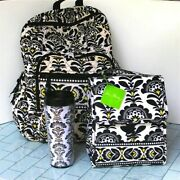 Read3pc Vera Bradley Backpack Fanfare With Matching Travel Tumbler And Lunchbox