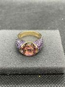 Hsn Jean Dousset 6.88 Ct Sim. Pink Sapphire And Amethyst Solitaire Ring Size 7