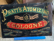 Rare Vintage Pratt's Atomizing Cologne Tin Sign, Late 19th To Early 20th Century