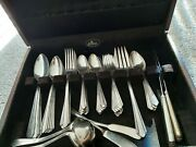 Holmesandedwards Silverplate Inlaid Flatware 75 Pc With Silver Cloth 2 Tier Chest