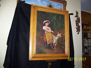Antique C1800and039s Original Oil On Canvas Child And Goat Portrait Painting