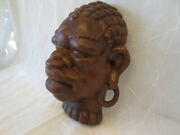 1x Vintage Htf Frankoma Pottery Rubbed Bisque African Negro Tribal Wall Mask 125