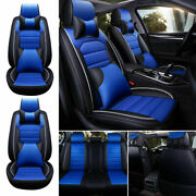 Fly5d Car Seat Cover Leather Interior Waterproof 5-seats Beige+black With Pillow
