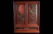 Antique Chinese Red Lacquer Carving Kikyoku Tea Utensils Cabinet