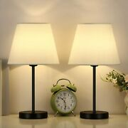 Set Of 2 Table Bedside Lamps With White Shade For Bedroom Living Room Office