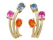 French 1.72 Ct Topaz And Sapphire 18 Ct Yellow Gold Stud Earrings