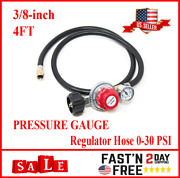 4 Ft Propane Regulator And Hose 0-30psi With Psi Gauge Gas Bbq Grill, Heater Lp