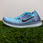 Nike Free Rn Flyknit 2017 Womenand039s Running Shoes Blue Pink 880844-400 Size 7.5