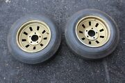 """Vintage Chrome Drag Racing Wheels 13"""" X 5.5"""" Sears Cross Country Allstate Tires"""